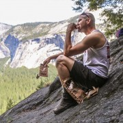 A climber eats a Meal Kit Supply MRE in Yosemite.