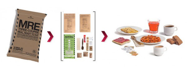 Meal Kit Supply case of 12 premium 3-course MREs (Meals Ready to Eat) have free shipping!