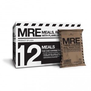 Front view of Meal Kit Supply's 12-case of 3-course MREs, with a 3-course MRE in front.